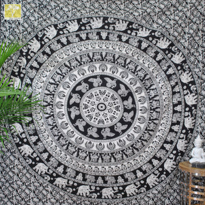 Black & White Camel and Elephant Tapestry