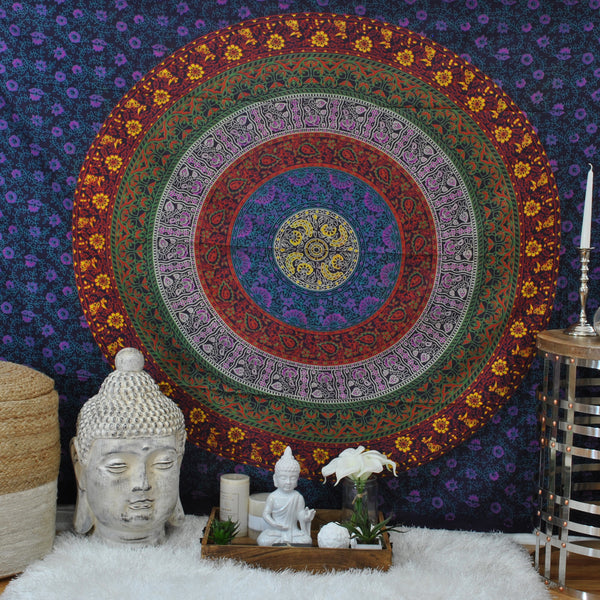 Purple Multi Medallion Tapestry.