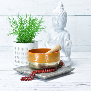 Singing Bowl Gift Set Orange/Sacral Plexus Medium.