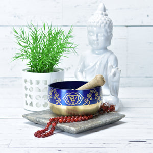 Singing Bowl Gift Set Cobalt/Third Eye Medium.