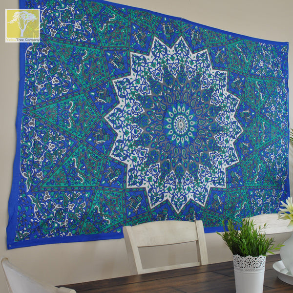 Blue Hippie Star Tapestry.