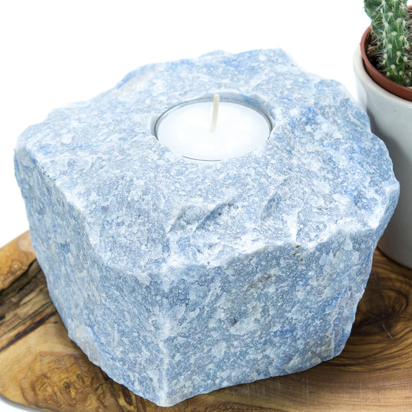 Blue Quartz Candle Holder