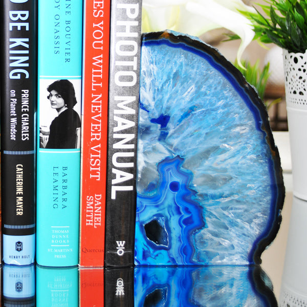 Blue Agate Bookends