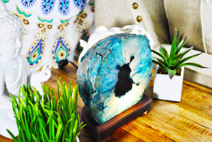 Teal Agate Lamp.