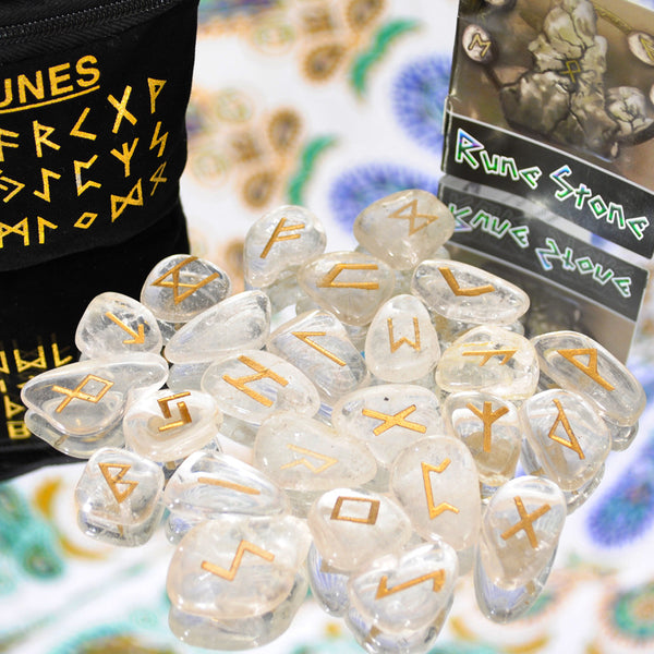 Clear Quartz Rune Stone Set
