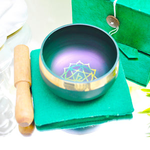 Singing Bowl Gift Set Green/Heart.