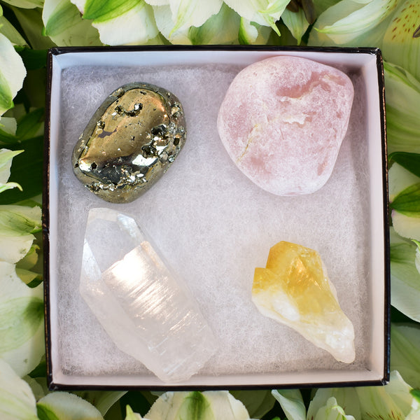 citrine, pyrite, clear quartz, rose quartz gift box