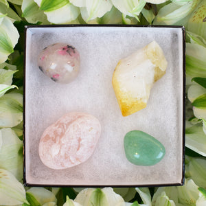 garnet, aventurine, citrine, rose quartz , gift box