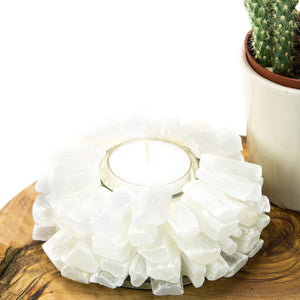 Selenite Candle Holder (Lotus)