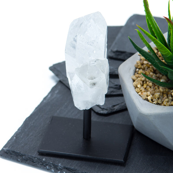 Clear Quartz Crystal on Metal Base