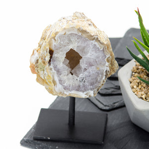 Natural Agate Geode on Metal Base
