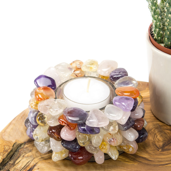 Mix Stone Tumble TeaLight Candle Holder