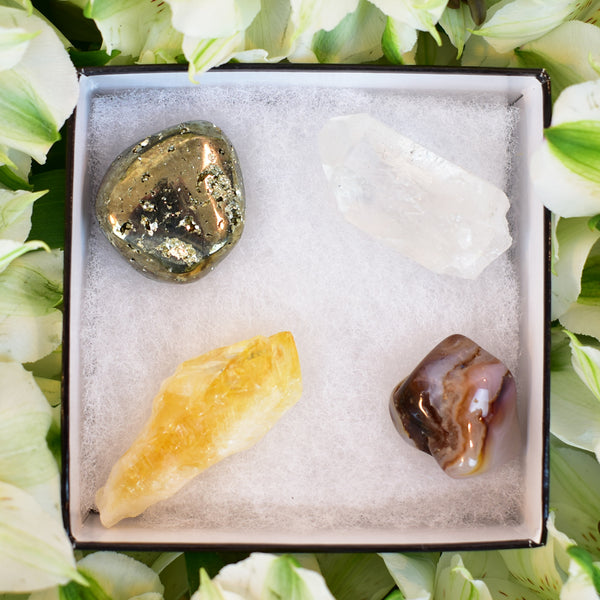 agate stone, pyrite, clear quartz, citrine crystal , gift boxes