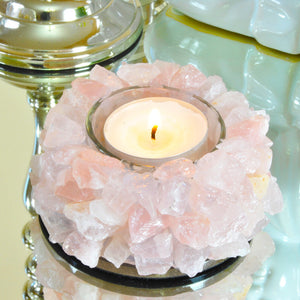 Rose Quartz Lotus Tea Light Candle Holder