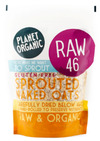 Planet Organic Sprouted Rolled Naked Oats (8x600g)