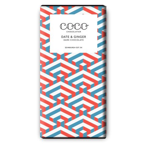 Coco Chocolatier Date & Ginger Dark Chocolate Bar (25x80g)