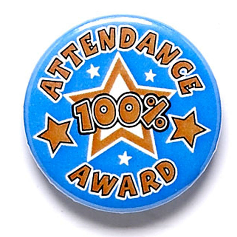 Attendence (100%) Award Pin Badge - Ace Trophies