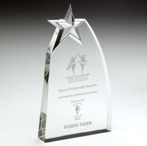 Clear Glass Award With Metal Star - Ace Trophies