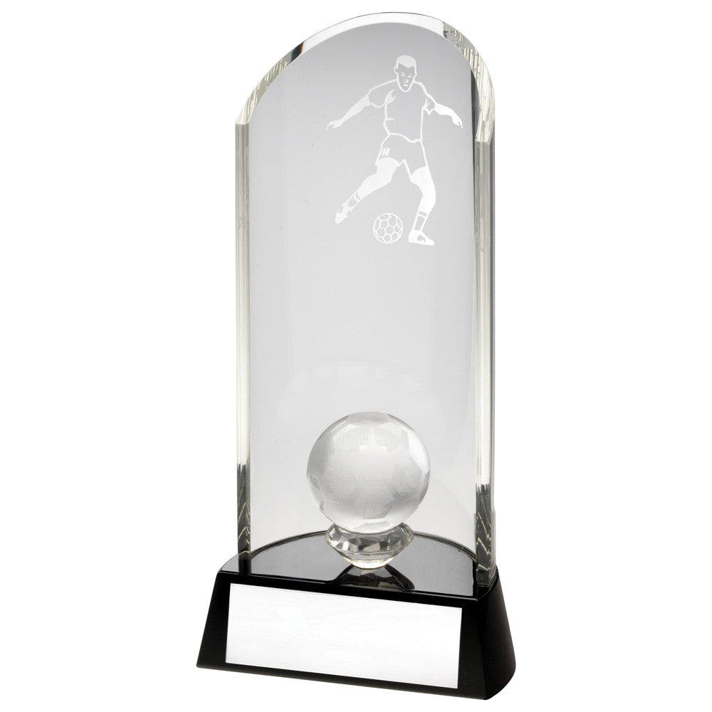 Clear/Black Glass Football Award - Ace Trophies