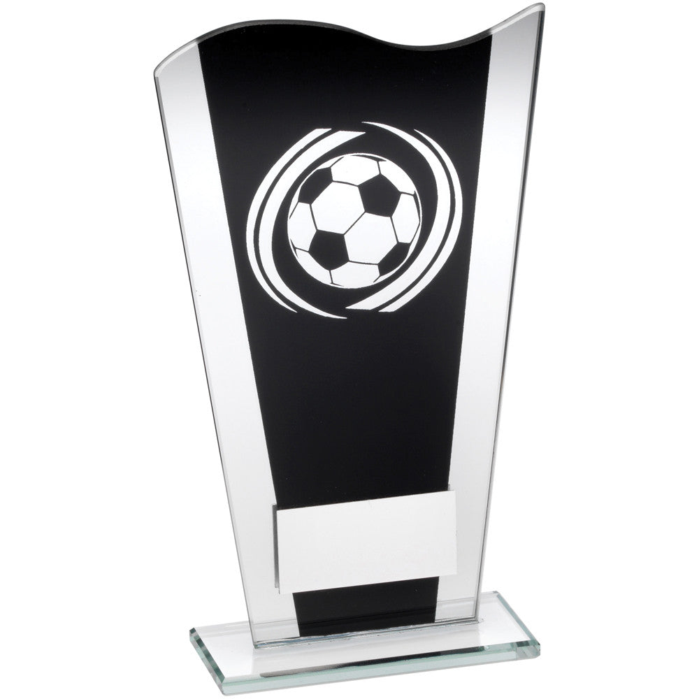 Black/Silver Glass Football Award - Ace Trophies