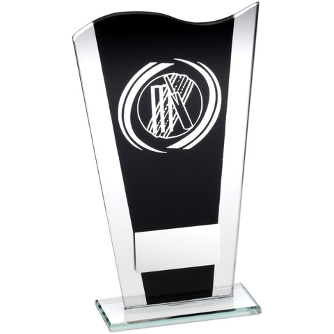Black/Silver Glass Cricket Award - Ace Trophies