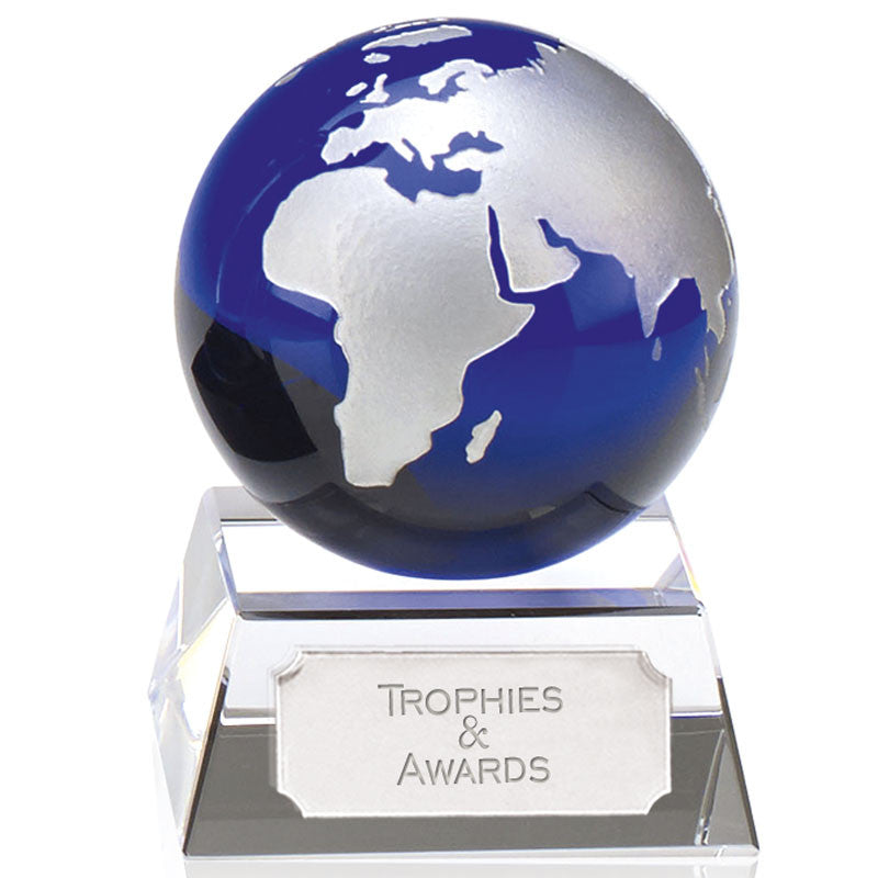 Aqua Mini Globe Optical Crystal - Ace Trophies