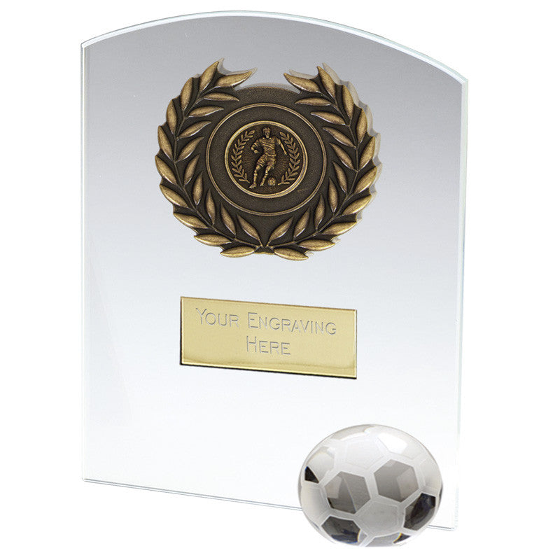 Strike Glass Football Plaque