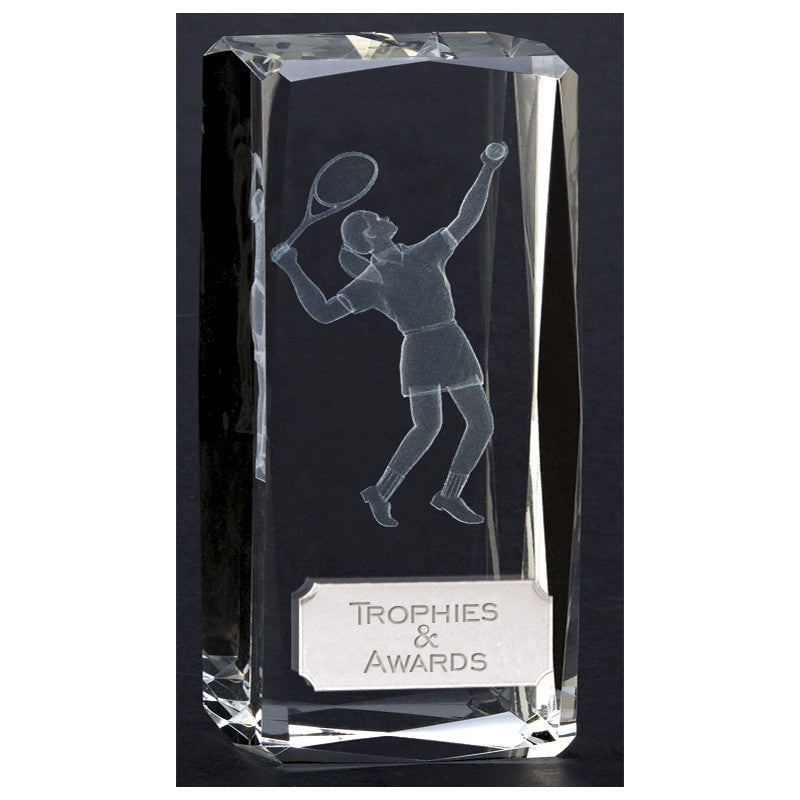 Clarity Optical Crystal Female Tennis Trophy - Ace Trophies