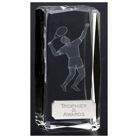 Clarity Optical Crystal Male Tennis Trophy - Ace Trophies