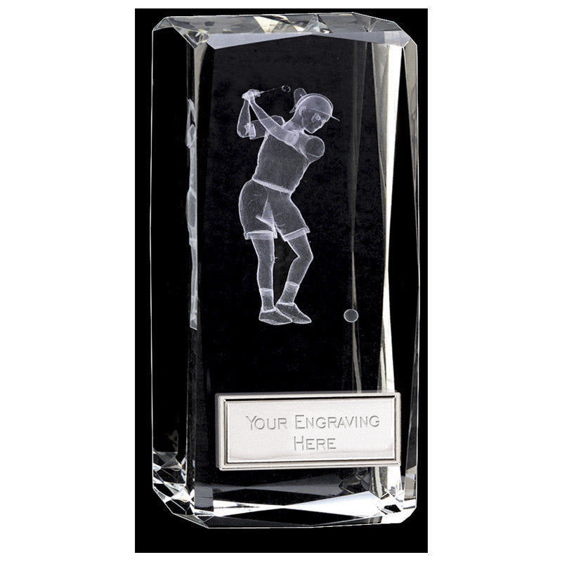 Clarity Female Golfer Crystal Block - Ace Trophies