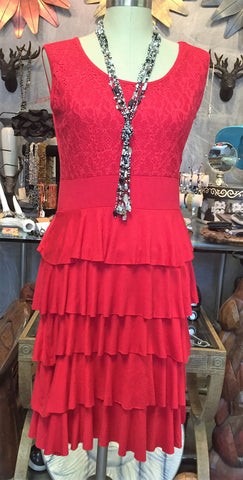 Red Ruffle Tier Dress
