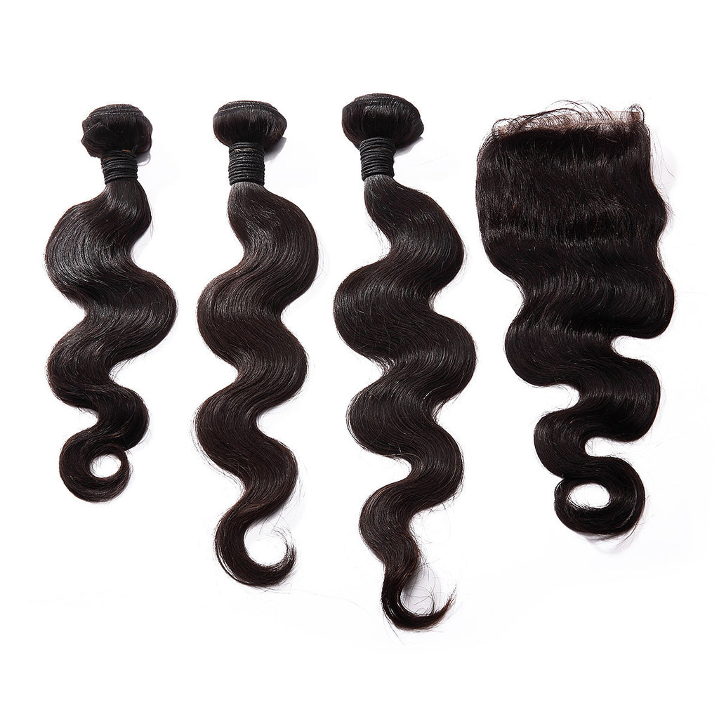 "Luxury Body Wave Bundles with a Lace Closure (14"" Free Part) - London Virgin Hair"