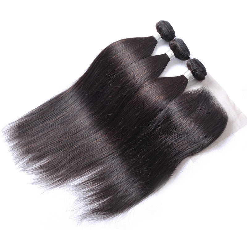 "Luxury Straight Bundles with a Lace Closure (14"" Free Part) - London Virgin Hair"