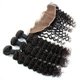 "Luxury Deep Wave Bundles with a Lace Frontal 13x4"" - London Virgin Hair"