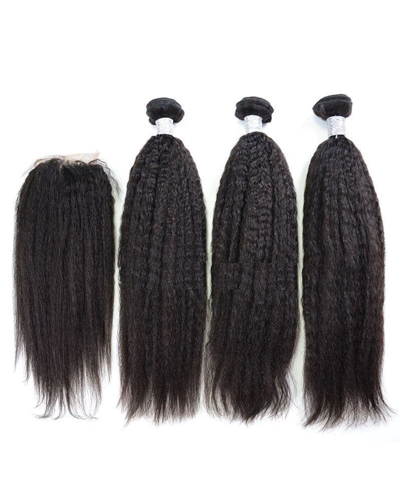 "Luxury Kinky Straight Bundles with a Lace Closure (14"")"