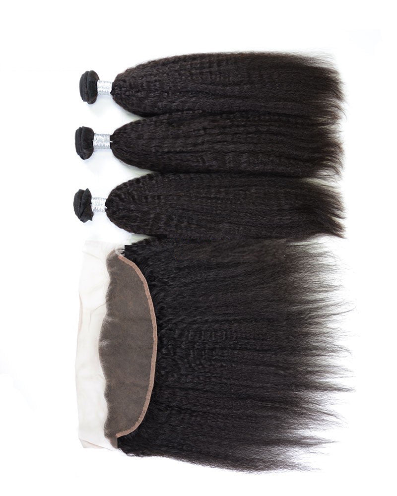Luxury Kinky Straight Bundles with a Lace Frontal 13x4