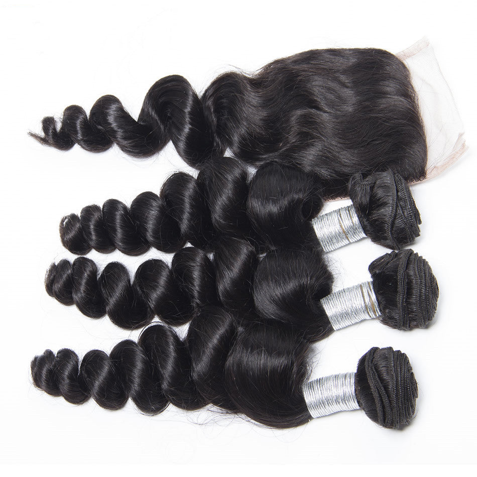"Luxury Loose Wave Bundles with a Lace Closure (14"" Free Part) - London Virgin Hair"