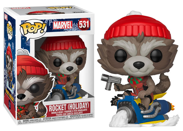 43334 - Funko Pop Marvel Holiday - Rocket Raccoon on Snowmobile Pop! Vinyl