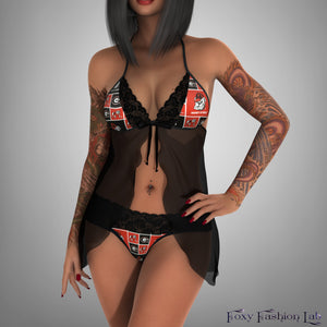 8f3ae3d49f Georgia Bulldogs lace teddy - sheer black negligee - lace panty ...