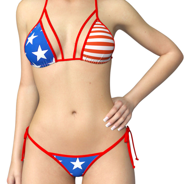 0afee6f53da57 american flag themed bikini · Mira: One strap padded triangle top Taya: Tie  side thong or scrunch bikini bottom - Stars and stripes with red ties