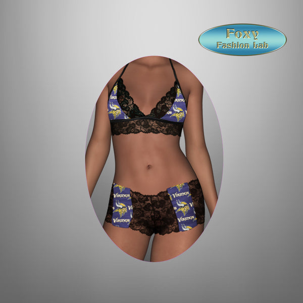 779cee2d5 Minnesota Vikings sexy scallop lace top - lace boy shorts lingerie