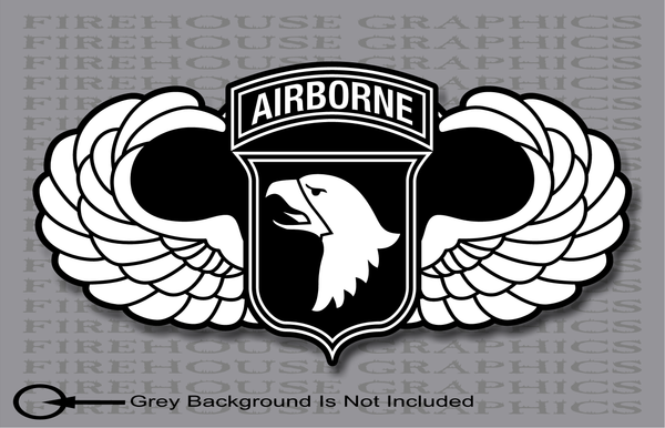NonReflective or Reflective 101st Airborne Division Parachutist Jump Wings Army sticker decal