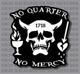 Blackbeard No Quarter Pirate Flag Skull Crossbones  sticker decal