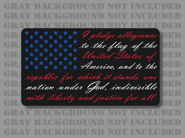 Red White Blue American flag pledge of allegiance vinyl sticker decal