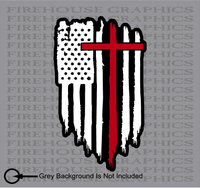American Flag Thin Red line Firefighter Cross Jesus Decal Sticker