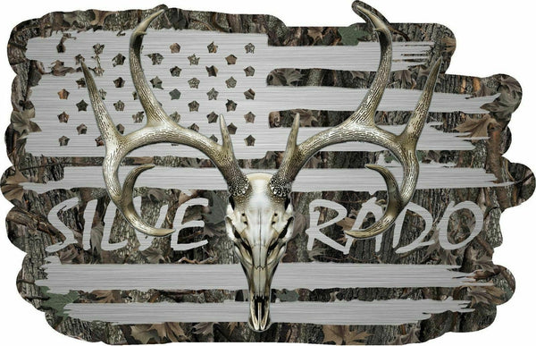 American Flag Silverado Chevy Duramax  Whitetail Buck Skull Hunting Deer Decal