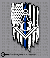 Thin Blue Line Police Masons masonic Freemasons American flag sticker decal