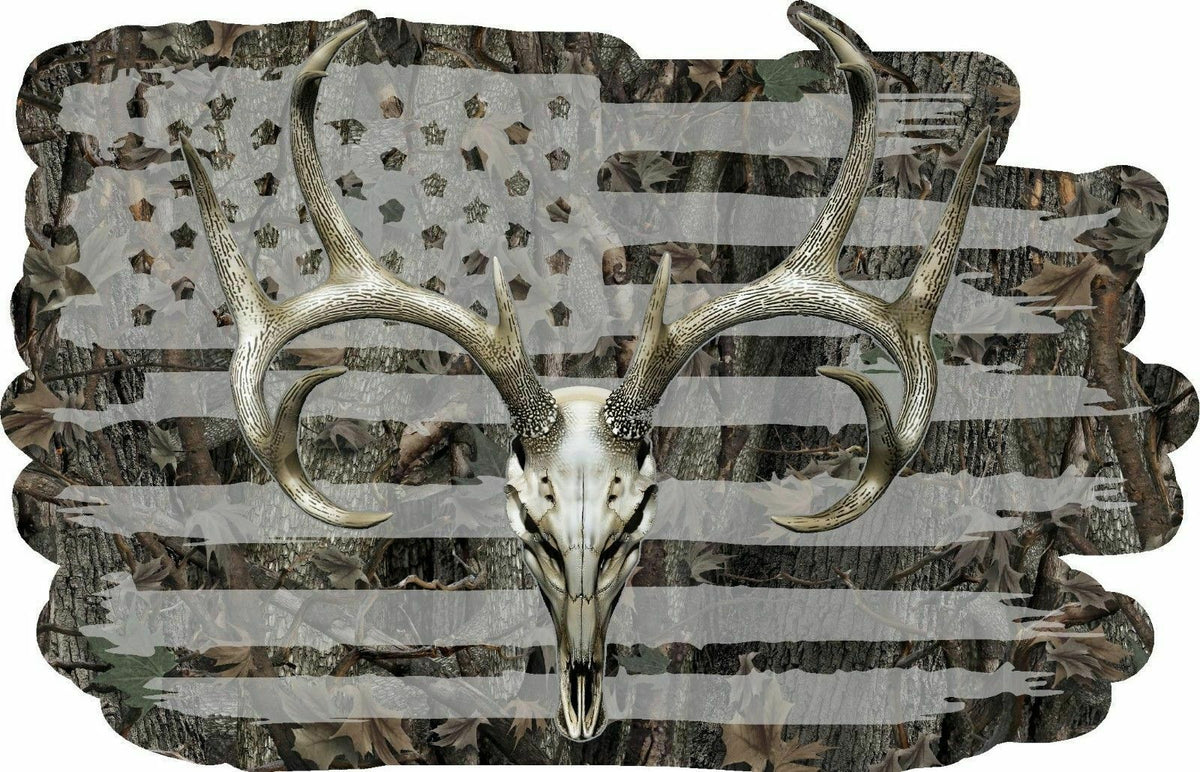 American Flag Camouflage Whitetail Buck Skull Hunting Deer