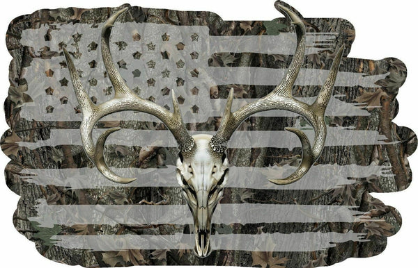 American Flag Camouflage Whitetail Buck Skull Hunting Deer Decal