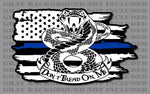 Police Officer Thin Blue Line Don't Tread On Me Gadsden American Flag Decal Law